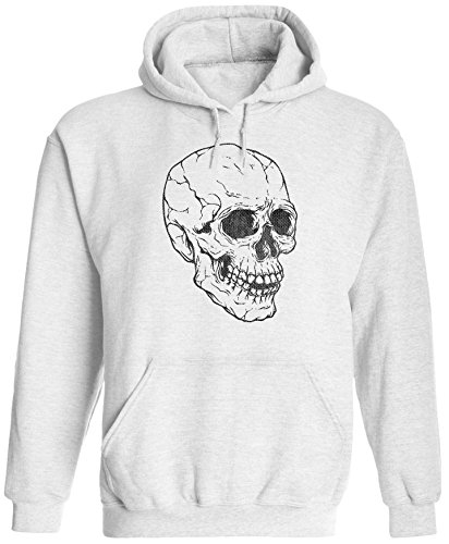 Austin Ink Apparel Unisex Mens Spooky Skull Pullover Hooded Sweatshirt (White, M) ()