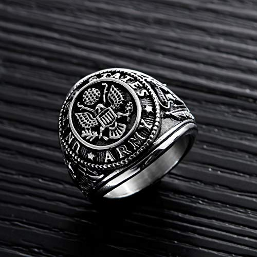 36c0761d92c10 TEMICO Men's Stainless Steel Domineering Vintage United States Army  Military Ring Gold/Silver Color