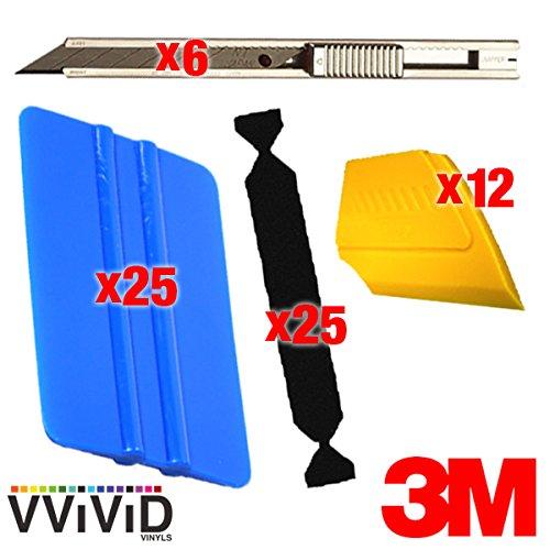 VViViD 3M Vinyl Wrap Bulk Toolkits Multi-Piece Applicator Toolkit (25squeegee,25felt,6blade,12detailer) by VViViD (Image #1)