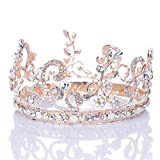 Remedios Opal Rhinestone Rose Gold Flower Leaf Wedding Headpiece Pageant Crown Tiara