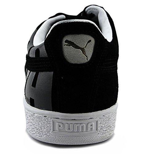 Puma Mens Mocka Klassiska Stor Logo Skor Svart Asfalt Vitt