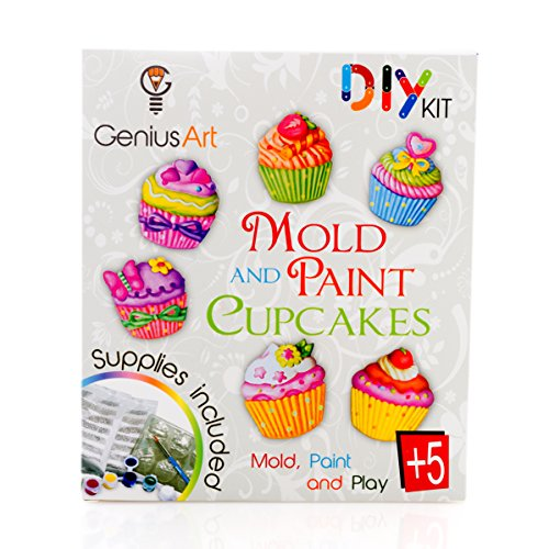 Genius Art Mold and Paint Cupcakes - Girls Design Kit - Arts and Crafts Toys for Girls - For Kids Age 5 +