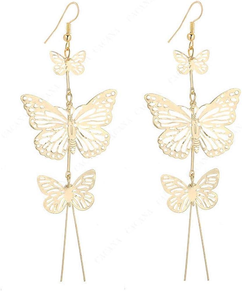 Qpodgq Arete Pendientes Largos Con Mariposas Brillantes Para Mujer Bisutería De Alta Calidad