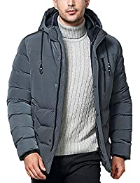 Mens Coat, Fashion Winter Thickened Cotton Hooded Pocket Zipper Overcoat Warm Outwear