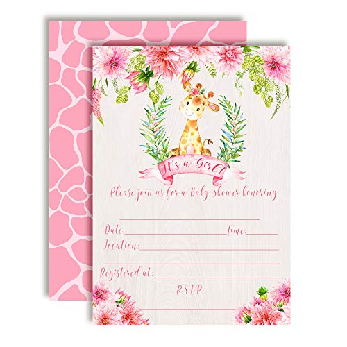Watercolor Dahlia Floral Giraffe-Themed Baby Girl Sprinkle Shower Invitations, 20 5
