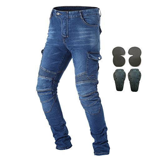 Takuey Bike Motorcycle Motorbike Riding Jeans Men Denim Jeans Motocross Racing Pants with 4 X Armored Pads (XXL=36) Blue (Moto Combat X)