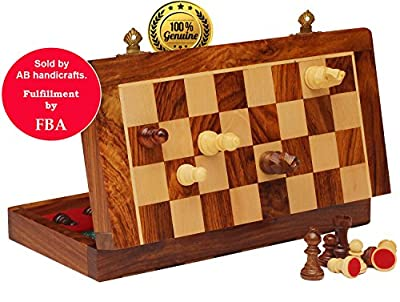 Cyber Monday Deals Week 2017 - AB handicrafts 7X7 Inch Chess Set with Red Color - Folding Magnetic Travel Chess Set - Classic Handmade Standard Staunton Ultimate tournament Rosewood Chess Board
