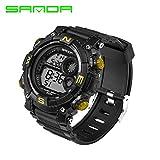 Delight eShop SANDA Waterproof Date Week Silicone Digital Analog Alarm Mens Sport Wrist Watch (Black&Gold)
