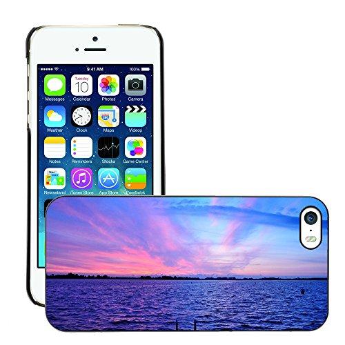 Stampato Modelli Hard plastica Custodie indietro Case Cover pelle protettiva Per // M00421752 Purple Sunset Sky Crépuscule Lac Rose // Apple iPhone 5 5S 5G