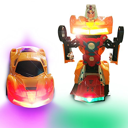Toy Car Robot With LED Flashing Lights – Toy Car That Transforms Into A  Fighting Robot – Colorful Lights With Interactive Wheels, And Arms And
