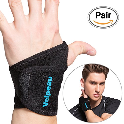 Wrist Wraps (2 Pack) for Men & Women - Neoprene Elastic Wrist Straps Support Brace for Carpal Tunnel - Arthritis - RSI - Tendonitis and Sprains for Weak and Sore Wrists by Velpeau (One Size Black)