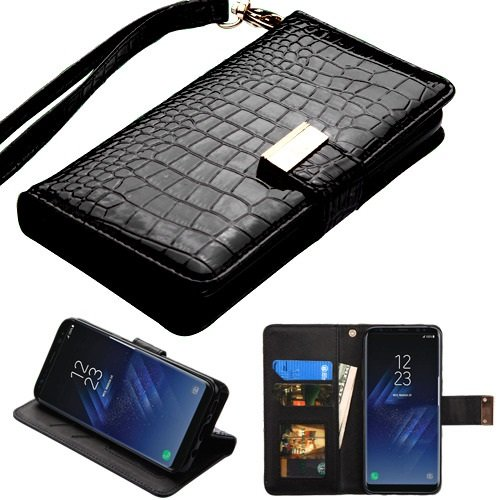 Case+Stylus, PU Leather Purse Clutch Fits Samsung Galaxy Note 8 MYBAT Black Crocodile-Embossed MyJacket Wallet