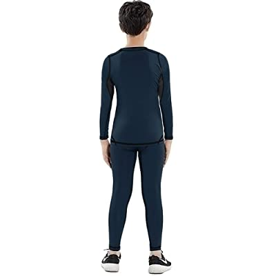 Size 8-16 Years Fleece Lined Long Johns Soft Warm Base Layer for Kids MeetHoo Thermal Underwear Set for Boys