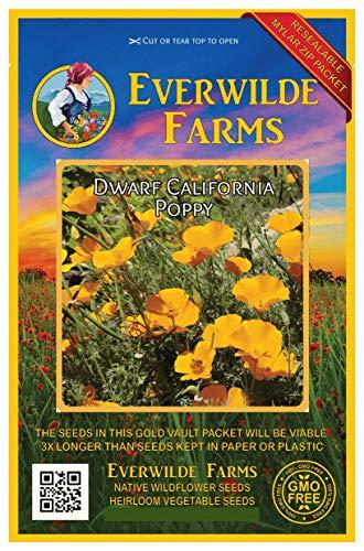 Everwilde Farms - 1000 Dwarf California Poppy Native Wildflower Seeds - Gold Vault Jumbo Seed Packet California Poppy Seed Paper