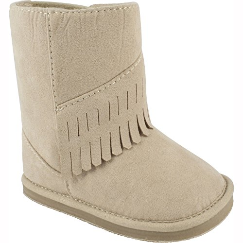 Wee Kids Baby-Girls Suede Cloth Western Baby Boots with Fringe Trim (Infant Crib Shoes Soft Sole Baby Shoes) Tan Beige Size 5 -