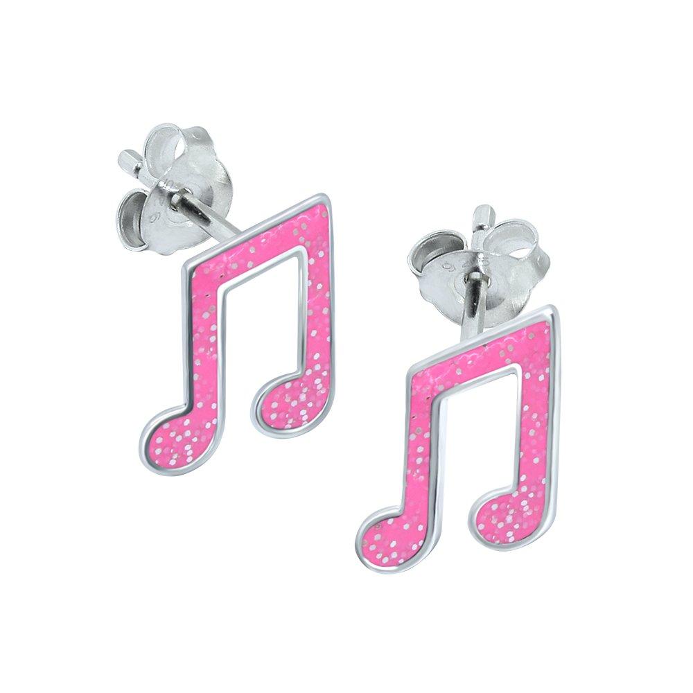 Paillettes Rose–Boucles d'Oreilles Note de musique Argent sterling Katy Craig E957
