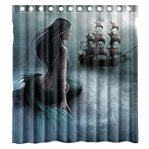 Custom Mermaid and the Sailing Ship Waterproof Polyester Fabric Bathroom Shower Curtain Standard Size 66(w)x72(h) by Shower Curtain