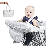 Can Be Used As Pad,Bag,Cover And Cushion 2-in-1 Baby Shopping Cart Cover & High Chair Covers with Safety Harness for Babies & Toddler (Unisex Grey)