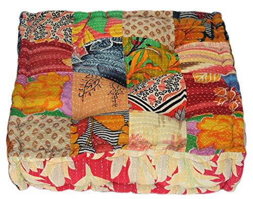 MARUDHARA RANGILA Stuffed Indian Vintage Kantha Patch Floor Cushion; Pouf Ottoman; Floor Pillow Yoga Pillow 16 Patch by MARUDHARA