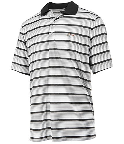 Greg Norman Mens Multi Striped Performance Rugby Polo Shirt, Grey, Medium