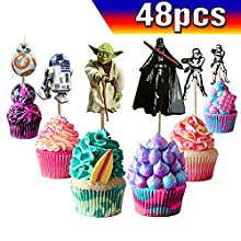 Star Wars Cupcake Toppers Star Wars Cake Toppers 48PCS, Star Wars Happy Birthday Party Supplies Cake Decorations for Star Wars fans, Kids Birthday Party