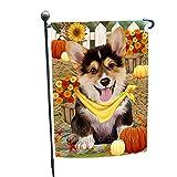 Fall Autumn Greeting Corgi Dog with Pumpkins Garden Flag GFLG0619
