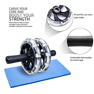 Ab Wheel Roller, Tintec Crystal Exercise Wheel with 4 Ball Bearings, Thick Knee Pad and Sturdy Dual Wheels for Home Gym Abdominal Crunch Core Training and Perfect Six Pack