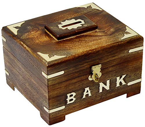 SKAVIJ Wooden Piggy Bank Coin Handmade Savings Money Bank Box Toy with Latch for Kids and Adults