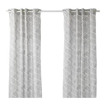 IKEA Vorhänge, 1 Paar, grau/weiß 2028.11514.226: Amazon.de: Küche ...