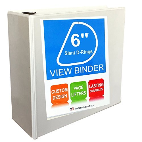 3 Ring Binder, Slant D-Rings, Clear View, Pockets (6 Inch Spine, white) Large 3 Ring Binder