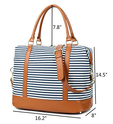 CAMTOP Women Ladies Weekender Travel Bag Canvas Overnight Carry-on Duffel Tote Luggage (Blue) by CAMTOP (Image #3)