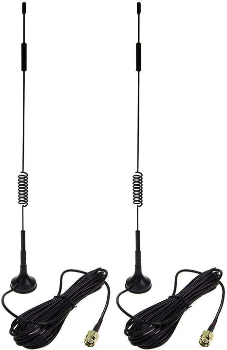RUNCCI-YUN Antena WiFi Antena 2.4G/5G/5.8G Antena WLAN de Base magnética 12dBi con Cable de extensión RP-SMA RG174 3m para Tarjetas WiFi Tarjetas PCI ...