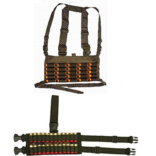 OD Green Chest Rig 25 Round 12 & 20 GA Gauge Shotgun Shotshell Holder Hunting Harness Vest with Hidden Internal Utility Pocket + Woodland Digital Ambidextrous 24 Shell Ammo Reload Carrier Dropleg