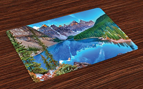 Lunarable Landscape Place Mats Set of 4, Moraine Lake Sunrise in Banff National Park Clear Sky Reflection Colorful Picture, Washable Fabric Placemats for Dining Room Kitchen Table Decor, Blue Green