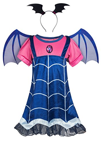 Wenge Girls Vampirina Cartoon Costume Skirt Set Dress+Hair Band+Wing for Girls (6-7 Y/140cm, Blue)