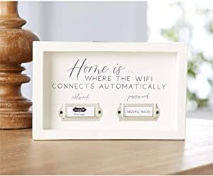 "Mud Pie WiFi Sign Home Decor Plaque, White Wood 8"" x 5"" x 3/4"""