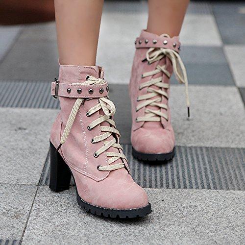 YE Damen Blcockabsatz Ankle Boots High Heels Stiefeletten mit Schnürsenkel und Nieten Elegant Schuhe Rosa