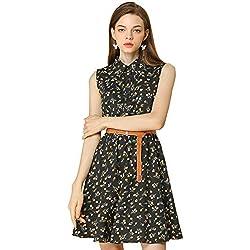 Allegra K Women's Half Placket Above Knee Printed Belted Sleeveless Dress L Black-Yellow Floral