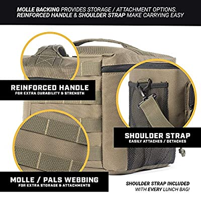 HSD Lunch Bag, Insulated Cooler, Large Thermal Lunch Box Tote with MOLLE/PALS Webbing, Adjustable Padded Shoulder Strap, for Tactical Men Women Adults (Ranger Green): Kitchen & Dining