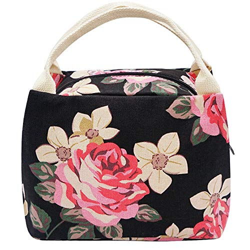 Lunch Bag, Floral Lunch Tote Box Bag Large Canvas Lunch Handbags for Women Girls - Bag Flower Canvas Tote Girl