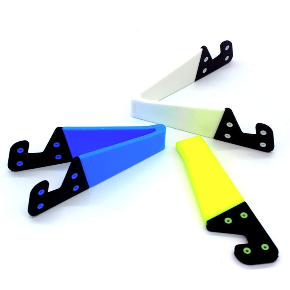V Cell Phone and Tablet Stands, Smartphone Kickstand for Desk, Universal Foldable Upgrade Mobile Mount, Pocket-Sized, Waterproof, by Kemoxan (Pack of 3, Fluorescent Yellow, Blue, White) by Kemoxan (Image #3)
