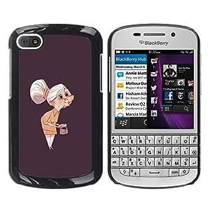 Be-Star Único Patrón Plástico Duro Fundas Cover Cubre Hard Case Cover Para BlackBerry Q10 ( Granny Old Lady Painting Art Clutch Grey Hair )