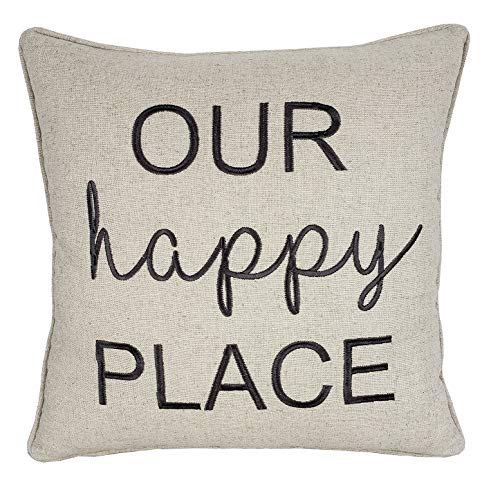 "DecorHouzz Pillowcase Farmhouse Embroidered Home Throw Pillow Cover Funny Quote Cushion Cover for Housewarming Guest Porch Wedding Anniversary Couple (18""X18"", Our Happy Place(Natural))"