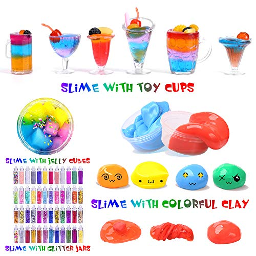 Slime Kit, 135 Pack Slime Making Kit 30 Crystal Slime, Glitter Jars, Charms, Sugar Paper, Foam Beads, Fishbowl Beads, Toy Cups, Slices, Air Dry Clay and Tools for Kids Girls by WINLIP by WINLIP (Image #3)