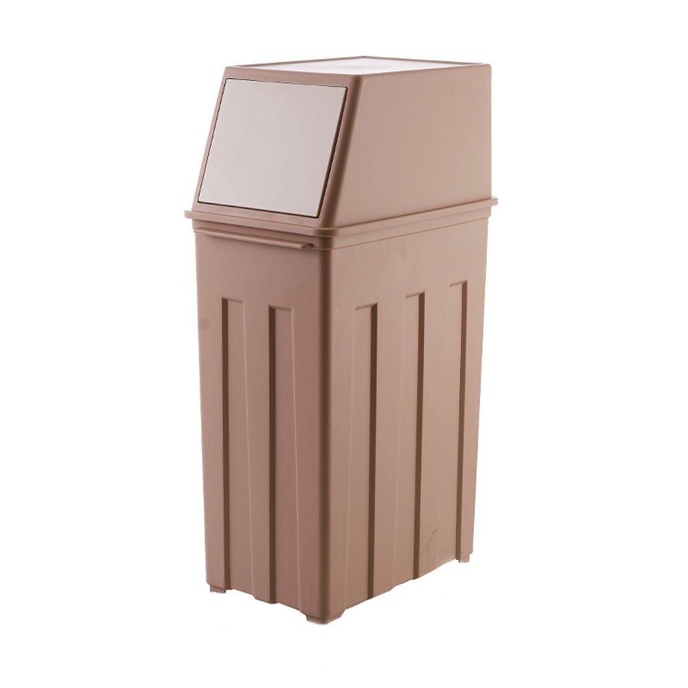Large capacity creative large trash office kitchen living room hotel plastic waterproof leak-proof trash 30L (Color : Brown)