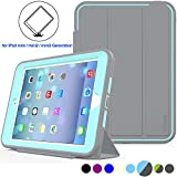 ipad ipad mini - iPad Mini 1/2/3 Case Three Layer Heavy Duty Shock Poof Smart Cover, Auto Sleep Wake With Leather Stand Feature For iPad mini 1/2/3 (Gray/Skyblue)