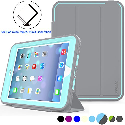 iPad Mini 1/2/3 Case Three Layer Heavy Duty Shock Poof Smart Cover, Auto Sleep Wake With Leather Stand Feature For iPad mini 1/2/3 (Gray/Skyblue) (Protection Line Video)