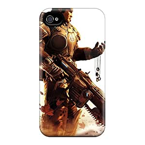 Bumper Hard Phone Cases For Iphone 4/4s With Allow Personal Design Colorful Gears Of War Pattern ColtonMorrill