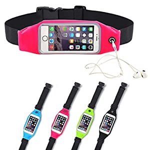 Running Belt Waist Bag Pack Utility Pouch iPhone 5,5S,6,6S 7,7 Plus Samsung Galaxy S7 S6 Edge 5.5 Inch with Transparent Touch Screen&Reflective Waterproof Zipper Pockets Expandable Gym Walking (Pink)
