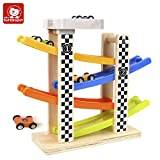 Baby : TOP BRIGHT Wooden Ramp Race Track with 4 Cars for Toddlers - BPA Free